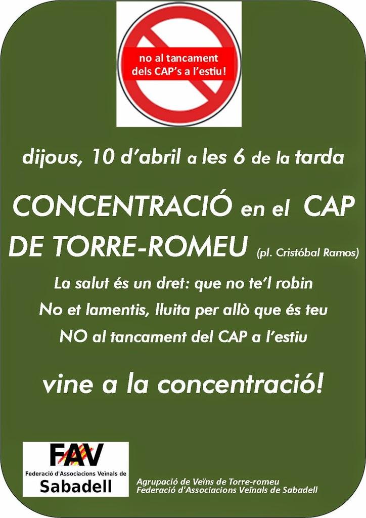DIJOUS 10, CONCENTRACIÓ AL CAP DE TORRE-ROMEU