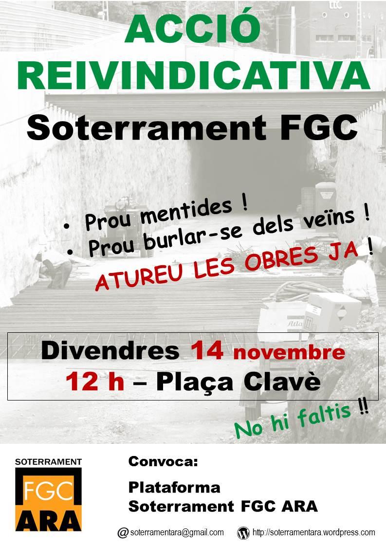 Moguda ciutadana des de Gràcia denunciant incompliment de les administracions responsables i reivindicant el soterrament del tren