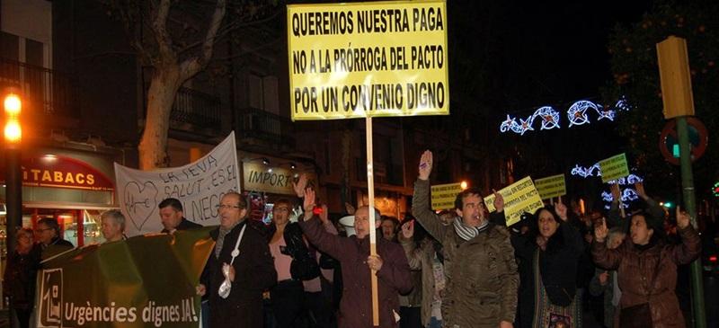 Un nadal reivindicatiu: manifestació en favor dels drets laborals i de la sanitat pública