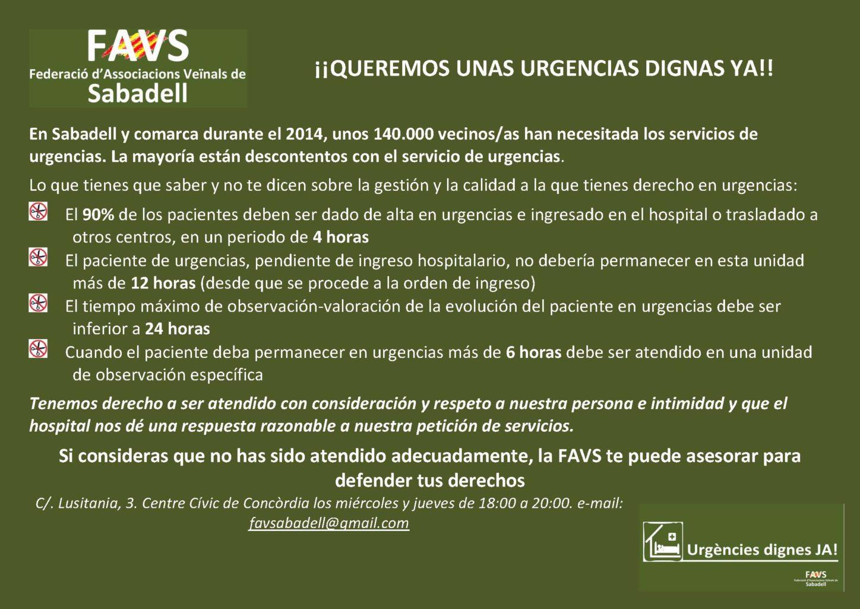 Octavilla para la campaña de la FAVS reivindicando unas urgencias dignas YA!