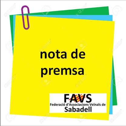 Nota de premsa de la FAVSabadell sobre el cese del regidor Sr. Serracant