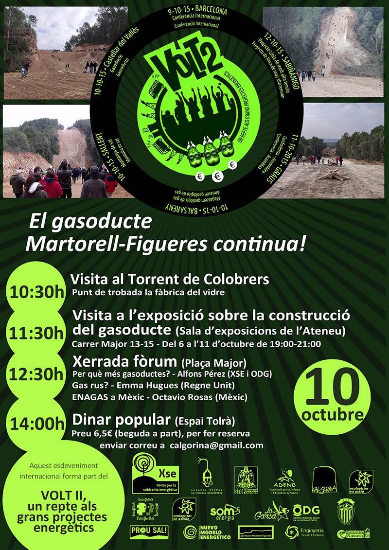 mobilització reivindicant la restauració dels espais destrossat per les obres del gaseoducte