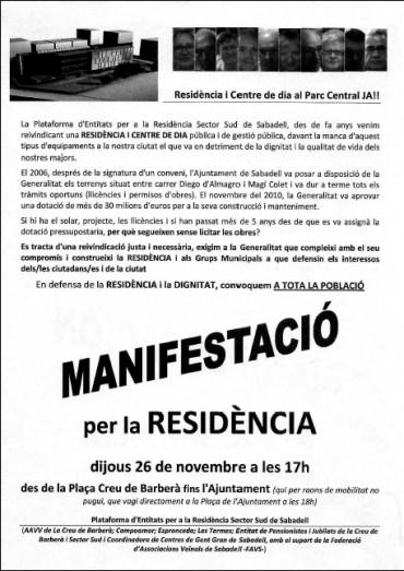 hoja informativa y convocatoria manifestación por la residencia