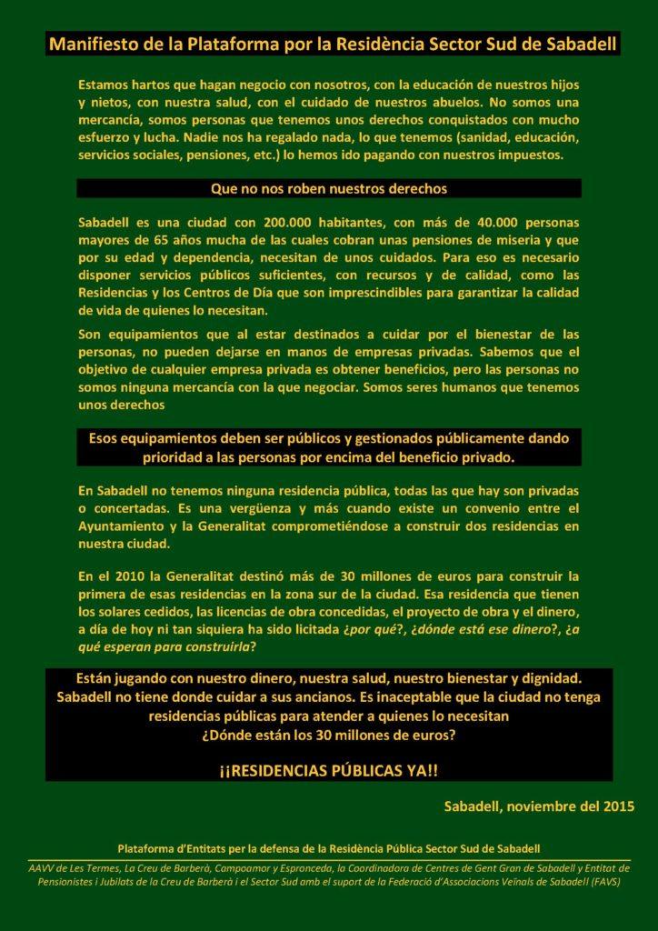 Manifiesto de la Plataforma por la Residència Sector Sud de Sabadell2