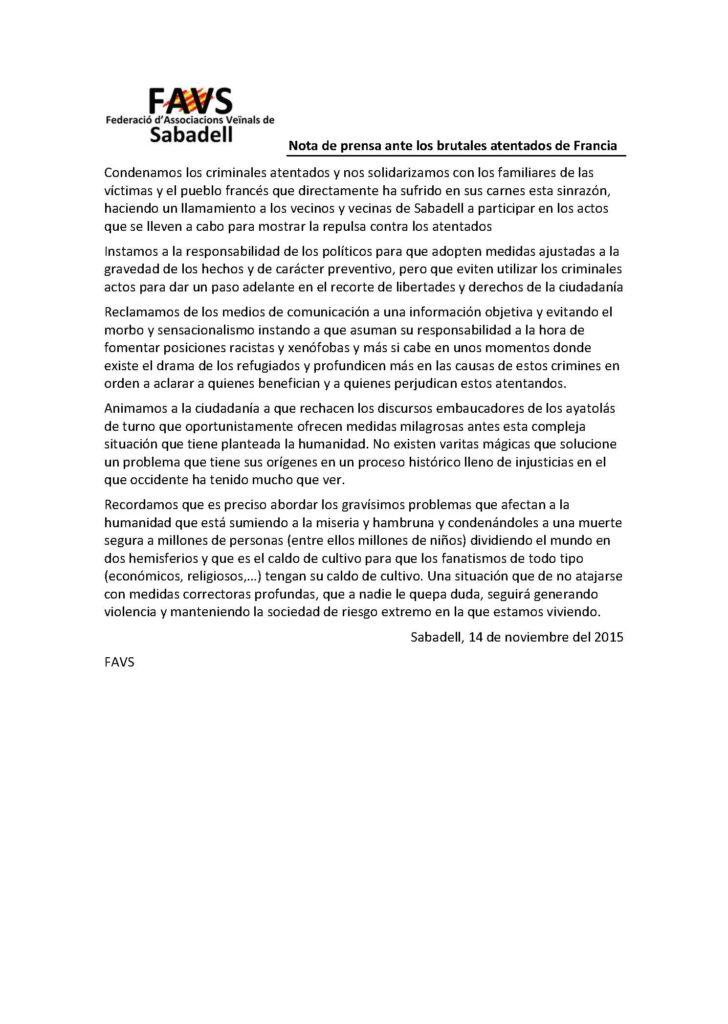 Nota de prensa ante los brutales atentados de Francia
