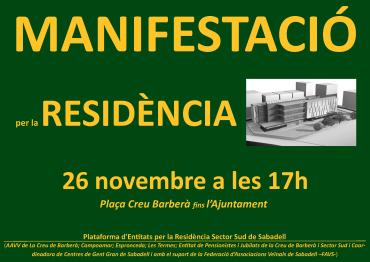 """Manifestació reivindicant la residència pública """"Sabadell Sud"""""""