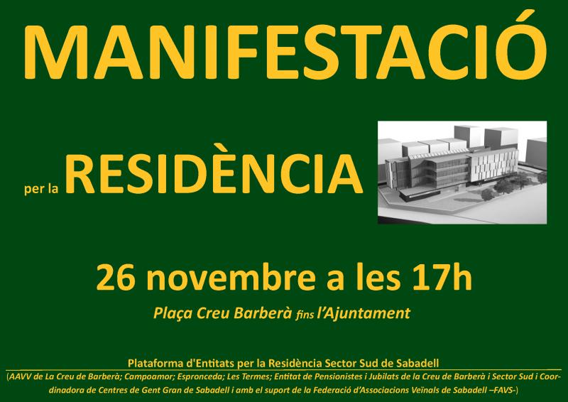 Jueves, 26 noviembre 2015: manifestación residencia pública Sabadell Sud