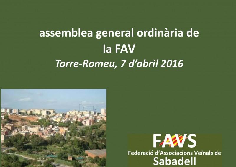 7 d'abril: Assemblea ordinària de la FAVS