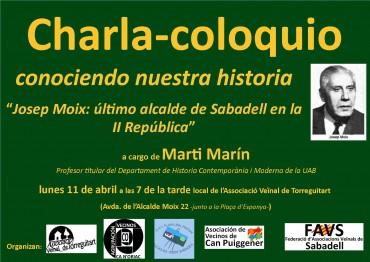 Charla-debate sobre la figura de l'Alcalde de Sabadell, Josep Moix