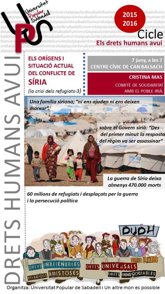 UPS. Cicle drets humans avui: els  orígens i situació actual del conflicte de Síria