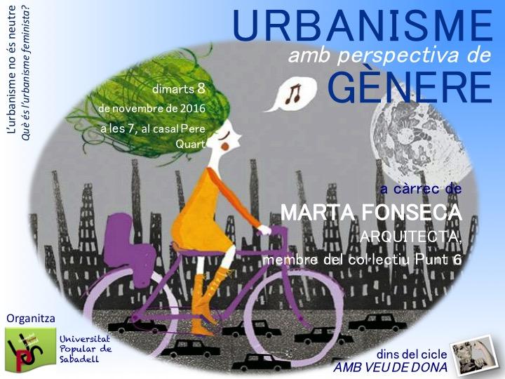 """UPS. Cicle """"en veu de dona"""": urbanisme amb la perspectiva de gènere"""