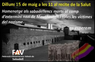 15 de maig, homenatge a les víctimes del nazisme