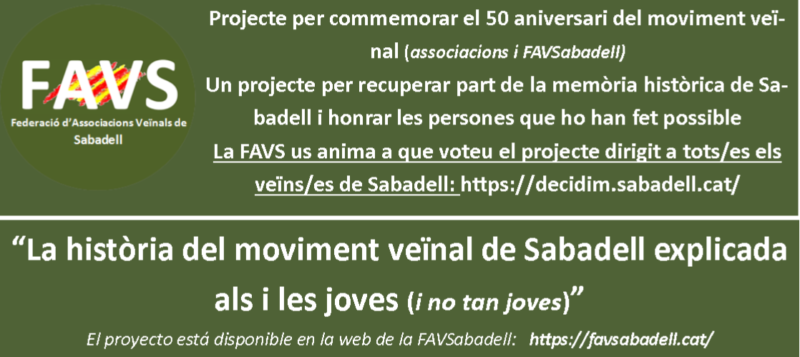 Projecte de la FAVSabadell sobre els 50 anys del moviment veïnal