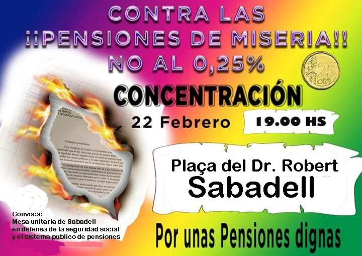 22 de febrer, jornada de lluita contra el robatori de les pensions públiques