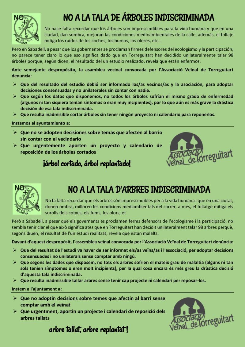 L'Associació Veïnal de Torreguitar contra la tala indisciminada d'arbres