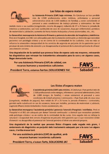 """octaveta de la FAVSabadell """"Les llistes d'espera maten"""" repartides als CAP"""