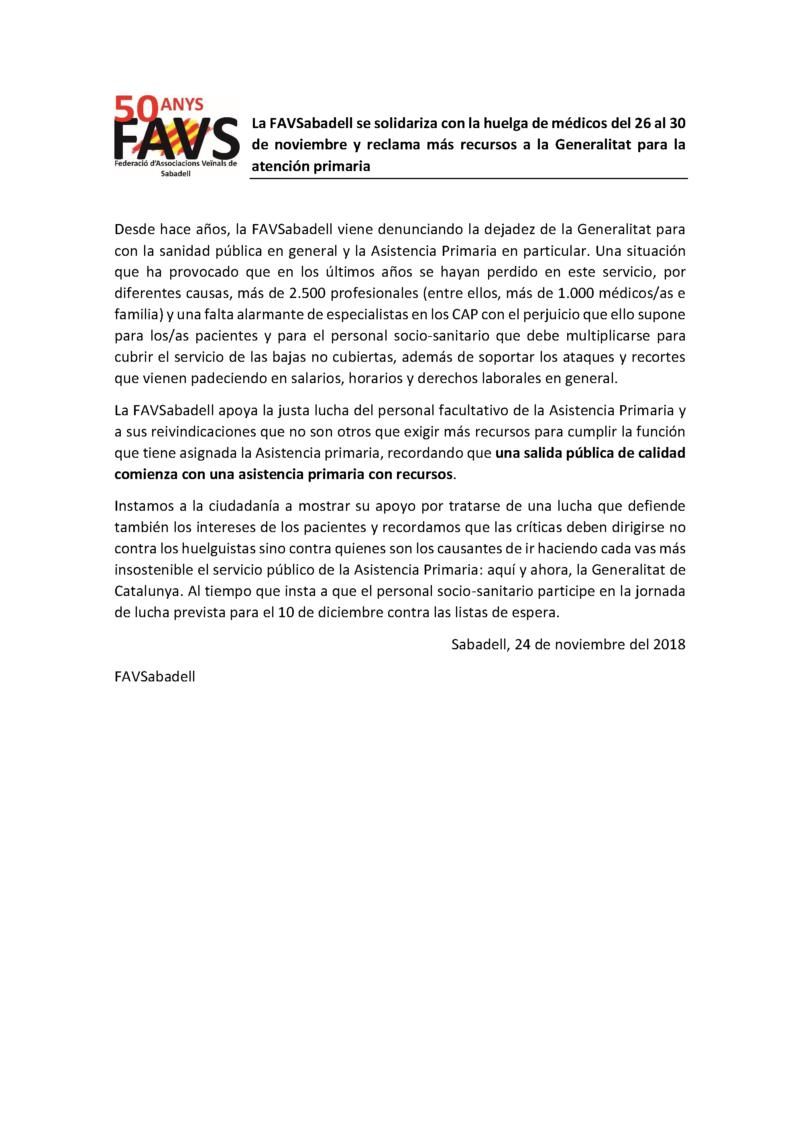 Nota prensa. solidaridad huelga médicos de la asistencia primaria