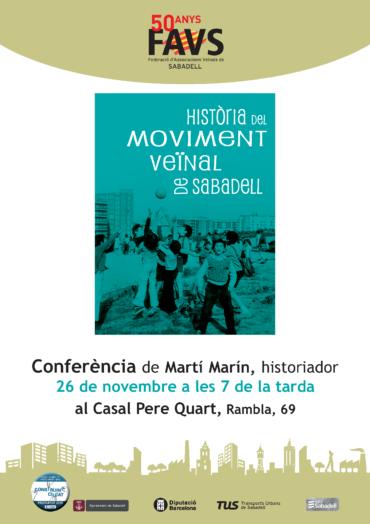 Conferència del professor Martí Marin sobre l'Història del Moviment Veïnal
